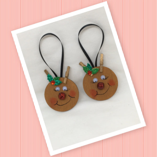 Ornament Rudolph the Red-Nosed Reindeer Round Handmade Hand Painted SET OF TWO Gift Holiday Decor Christmas Tree Decor Ornament Country Decor One of a Kind JAMsCraftCloset