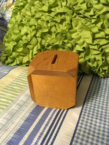 Small Vintage Unfinished Wooden Cube Bank  4 by 4 Inches Office Desk Decor Gift for Child