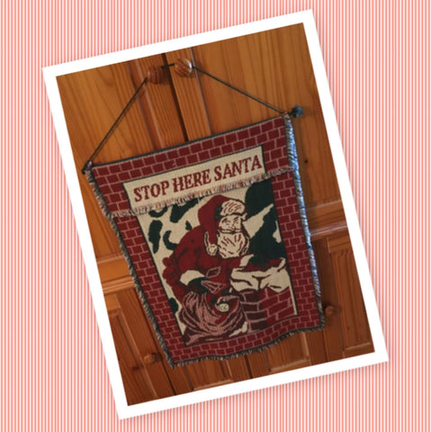 Santa Stop Here Tapestry Vintage Wall Art Christmas Holiday Decor Gift Idea