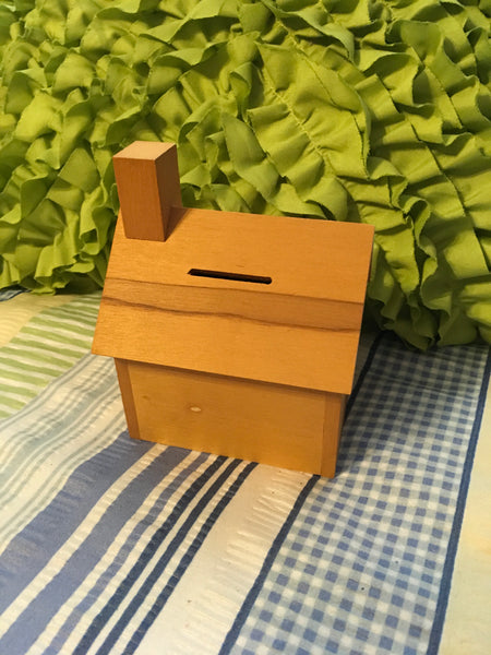 Small Vintage Unfinished Wooden House Bank  5 by 4 by 4 Inches Gift for Child