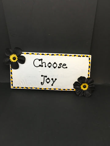 CHOOSE JOY Wooden Sign Wall Art Wall Hanging Positive Saying Handmade Hand Painted - JAMsCraftCloset