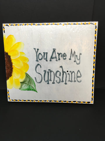 YOU ARE MY SUNSHINE Wooden Sign Wall Art Wall Hanging Positive Saying Handmade Hand Painted