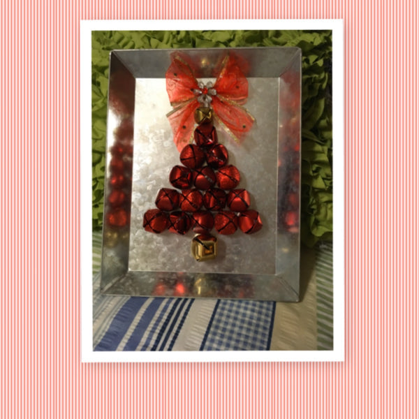 Red Bell Christmas Tree Wall Art Galvanized Handmade Wall Art Holiday Decor Christmas Decor JAMsCraftCloset
