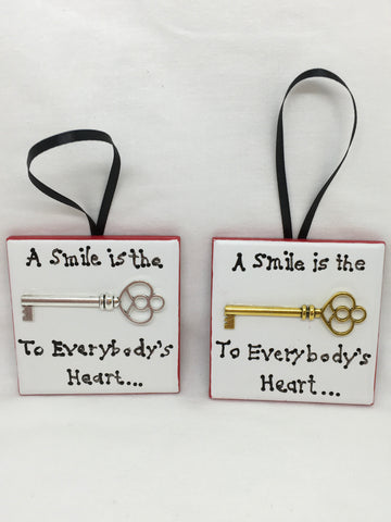 Ornament A SMILE IS THE KEY TO EVERYBODYS HEART Christmas Holiday Tile Gift Idea JAMsCraftCloset