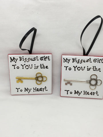 Ornament MY BIGGEST GIFT TO YOU IS THE KEY TO MY HEART Christmas Holiday Ceramic Tile JAMsCraftCloset
