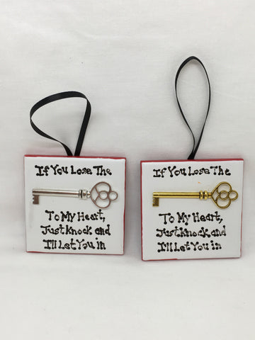 Ornament IF YOU LOSE THE KEY TO MY HEART, JUST KNOCK AND I'LL LET YOU IN Christmas Holiday Tile JAMsCraftCloset