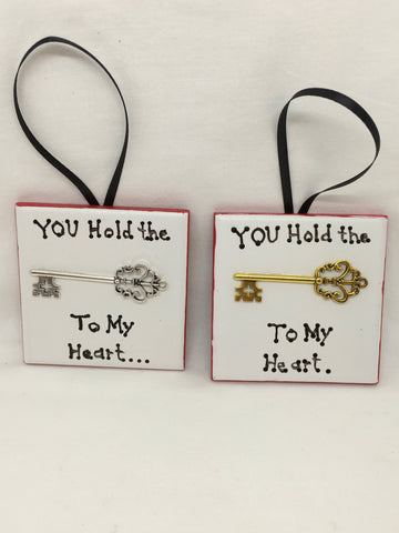 Ornament YOU HOLD THE KEY TO MY HEART Christmas Holiday Tile JAMsCraftCloset