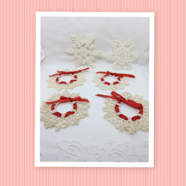 Ornament Vintage Crocheted Wreath with Red Ribbon Handmade Christmas Holiday Decor Gift Idea SET OF 4 Plus 2 FREE Snowflakes JAMsCraftCloset