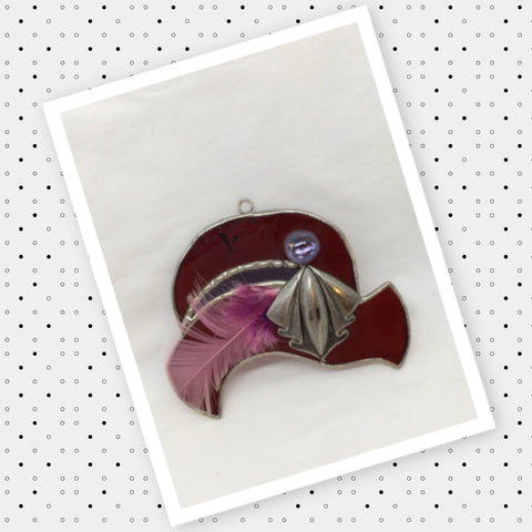 Ornament Vintage Hat Stained Glass Handmade Christmas Holiday Decor Gift Idea JAMsCraftCloset