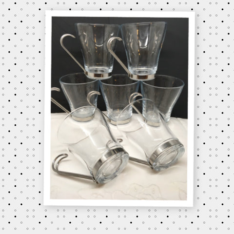 Mugs Coffee Tea Expresso Bormioli Rocco Made in Italy Vintage Clear Glass Chrome Handles Set of 6