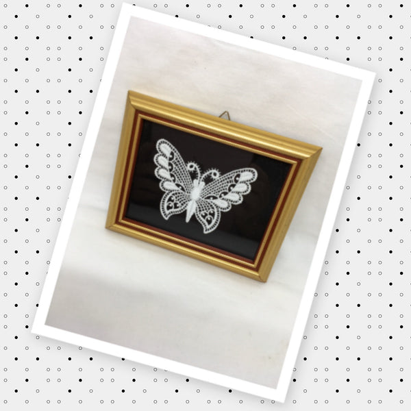 Crocheted BUTTERFLY Framed Vintage Wall Art Handmade Home Decor Gift Idea -One of a Kind-Unique-Home-Country-Decor-Cottage Chic-Gift JAMsCraftCloset