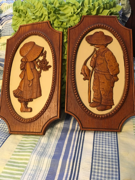 Holly Hobbie and Robbie Vintage Plastic Wall Art c. 1972 American Greetings Corp SET OF 2