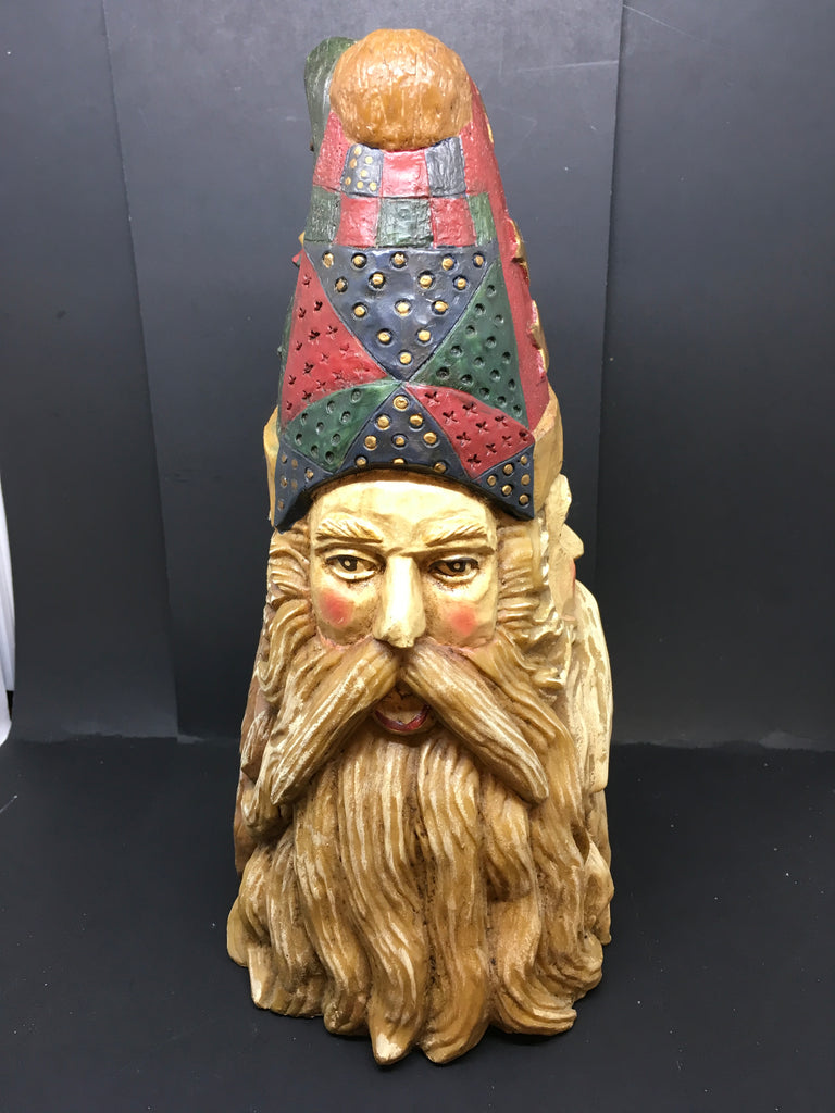 Santa Cone Shaped 3 Faces Shelf Sitter Holiday Christmas Decor Home Decor