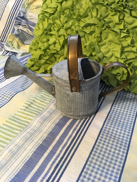 Watering Can Tin Flower Container Galvanized Crinkled Tin Brass Trim Garden Porch Decor JAMsCraftCloset