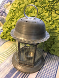 Lantern Vintage Tea Light Table Top Galvanized Glass Enclosed Lighting Porch Patio Decor Home Decor