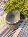 Tin Flower Pot Container Galvanized Tin Brass Trim Pressed Sea Shell Accents Holiday Christmas Decor