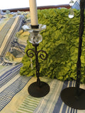 Candlestick Holder Vintage Twisted Wrought Iron Glass Pedestal Home Decor Shelf Sitter SET OF 2 - JAMsCraftCloset
