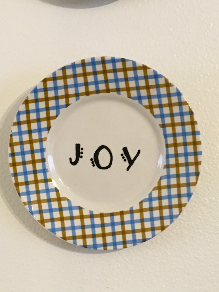 Plate Hand Painted Upcycled Repurposed Positive Saying JOY Plate Home Decor Wall Art