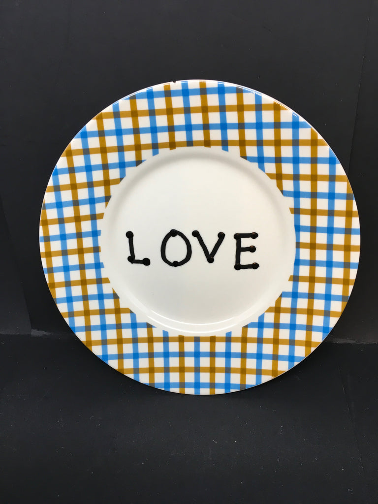 Plate Hand Painted Upcycled Repurposed Positive Saying LOVE Plate Home Decor Wall Art