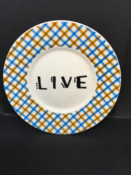 Plate Hand Painted Upcycled Repurposed Positive Saying LIVE Plate Home Decor Wall Art