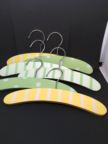 Baby Hangers Vintage Wooden With Stripes and Dots Nursery Decor SET OF 6 Gift Idea Nursery Decor - JAMsCraftCloset