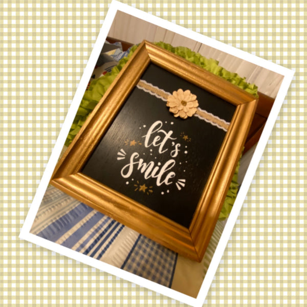 LET'S SMILE Framed Wall Art Handmade Hand Painted Home Decor Gift Idea -One of a Kind-Unique-Home-Country-Decor-Cottage Chic-Gift - JAMsCraftCloset