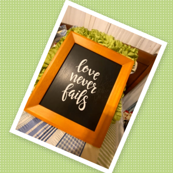 LOVE NEVER FAILS Framed Wall Art Handmade Hand Painted Home Decor Gift Idea -One of a Kind-Unique-Home-Country-Decor-Cottage Chic-Gift - JAMsCraftCloset