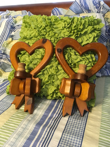Candlestick Holder Vintage Heart Wooden Bow Ready to Hang or DIY Country Farmhouse Cottage Decor - JAMsCraftCloset