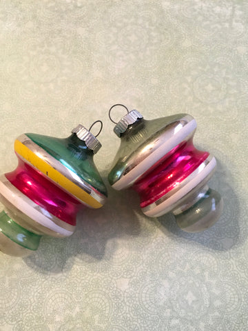 Ornaments SHINY BRITE Unsilvered Vintage Christmas WWII Era SET OF 2 Pink and Green