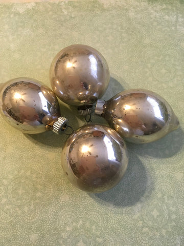 Ornament SHINY BRIGHT Vintage Christmas Mercury Glass Silver Made in the USA SET OF 4
