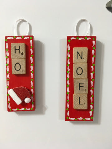 Ornament Magnet Wall Art Handmade Wooden Scrabble Pieces NOEL and HO Holiday Tree Decor