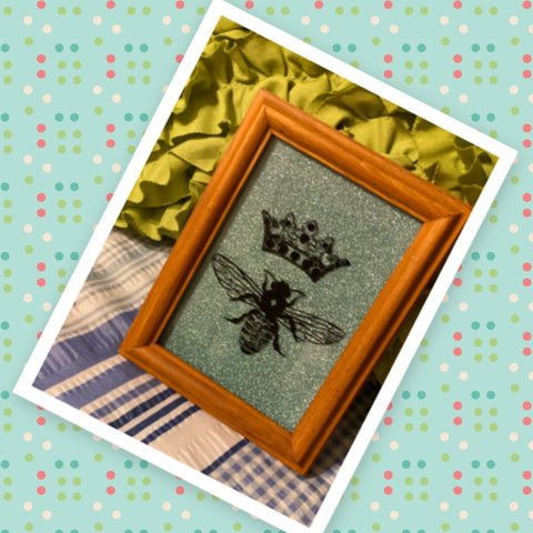 QUEEN BEE Vintage Wood Framed Saying Sign Aqua Glitter Background Wall Art Hand Painted Gift