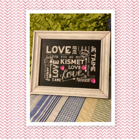 LOVE JE TAIME AMOUR TI AMO Framed Wall Art Hand Painted Home Decor Gift