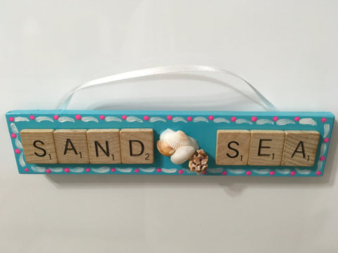 Ornament Magnet Wall Art Handmade Wooden Scrabble Pieces SAND SEA Home Decor Fridge Magnet