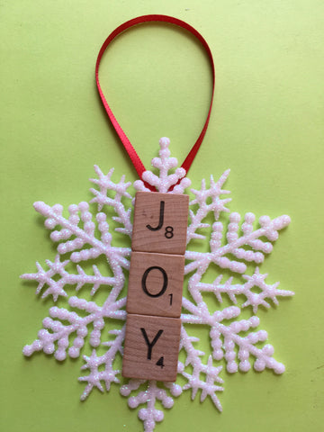Ornament Handmade Plastic Snowflake Wooden Scrabble Pieces JOY Holiday Tree Decor