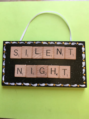 Ornament Wall Art Handmade Wooden Scrabble Pieces SILENT NIGHT Christmas Holiday Decor