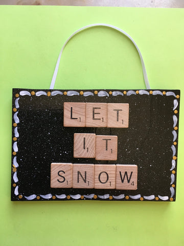 Ornament Wall Art Handmade Wooden Scrabble Pieces LET IT SNOW Christmas Holiday Decor