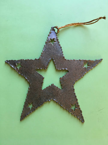 Tin Star Handmade Ornament Vintage Christmas Tree Holiday Decor Collectible