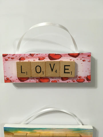 Ornament Magnet Wall Art Handmade Wooden Positive Saying Scrabble Pieces LOVE Tree Holiday Decor
