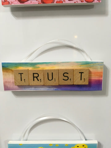 Ornament Magnet Wall Art Handmade Wooden Positive Saying Scrabble Pieces TRUST Tree Holiday Decor