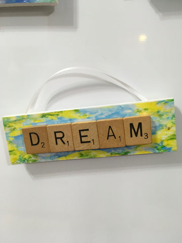 Ornament Magnet Wall Art Handmade Wooden Positive Saying Scrabble Pieces DREAM Tree Holiday Decor