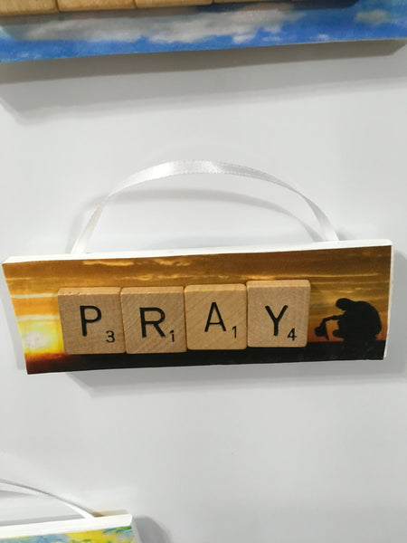 Ornament Magnet Wall Art Handmade Wooden Positive Saying Scrabble Pieces PRAY Christmas Tree Holiday Decor JAMsCraftCloset