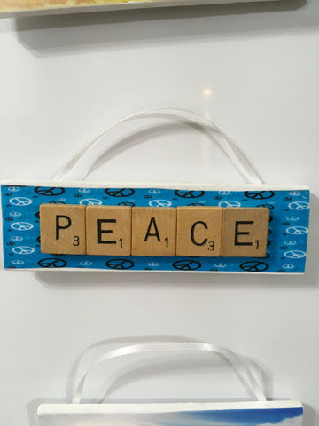 Ornament Magnet Wall Art Handmade Wooden Positive Saying Scrabble Pieces PEACE Tree Holiday Decor