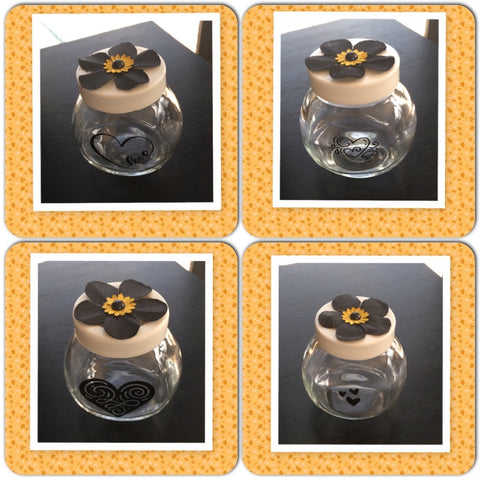Bottles Jars Clear Glass With Hand Painted Hearts Black Yellow Flowers SET OF 4 Home Decor Gift Idea JAMsCraftCloset