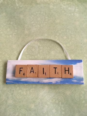 Ornament Magnet Wall Art Handmade Wooden Positive Saying Scrabble Pieces FAITH Tree Holiday Decor