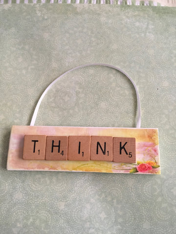 Ornament Magnet Wall Art Handmade Wooden Positive Saying Scrabble Pieces THINK Tree Holiday Decor