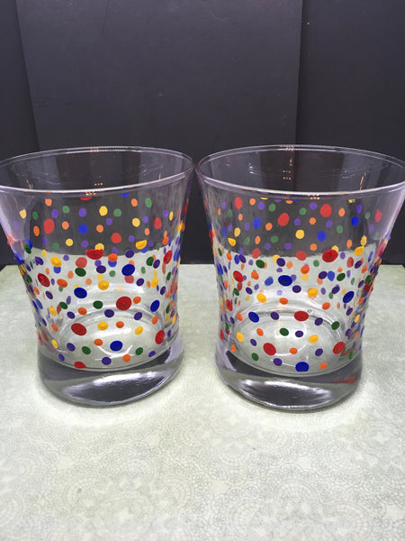 Glasses Rock Water Hand Painted Clear Glass Dot Red, Blue, Orange, Green, Yellow Dots Set of Two