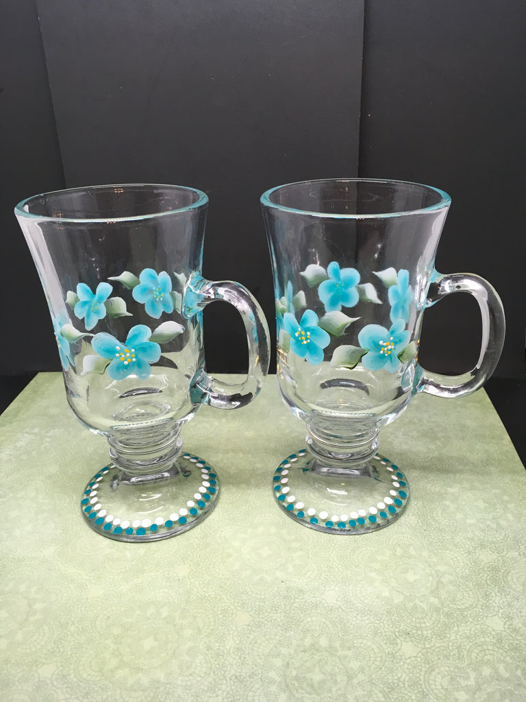 Mugs Floral Hand Painted in Aqua White Set of TWO