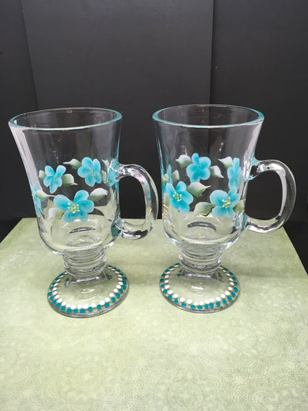 Floral Fancy Mugs Hand Painted in Aqua and White Drinkware Barware One of a Kind Unique Kitchen Decor Bar Decor Country Decor Set of TWO
