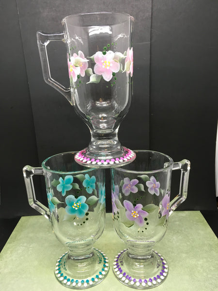 Mugs Clear Glass Hand Painted Floral  Pink Aqua Purple Flowers SET of 3